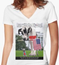 Run with the Big Dog Women's Fitted V-Neck T-Shirt
