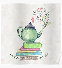 Books & Tea Watercolor Poster