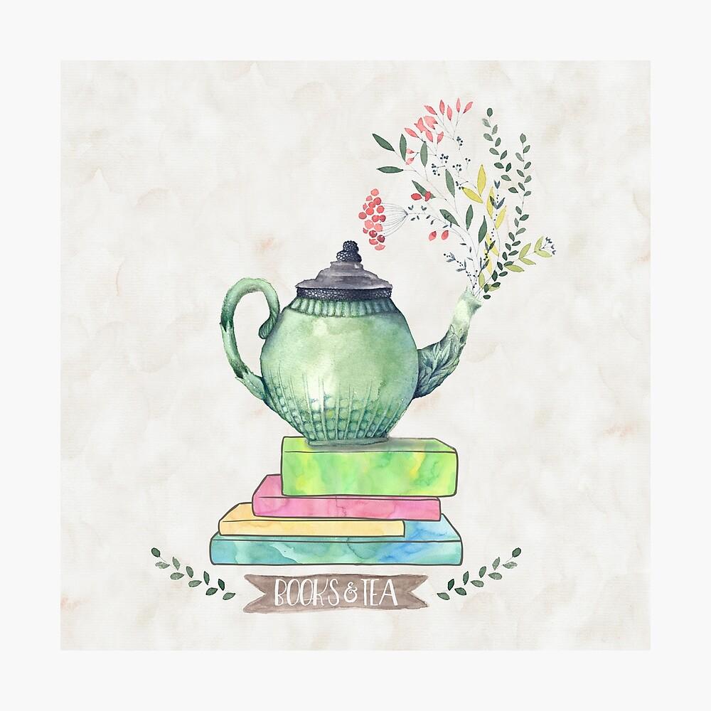 Books & Tea Watercolor Photographic Print