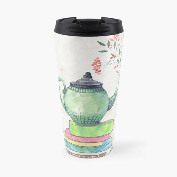 Books & Tea Watercolor Travel Mug