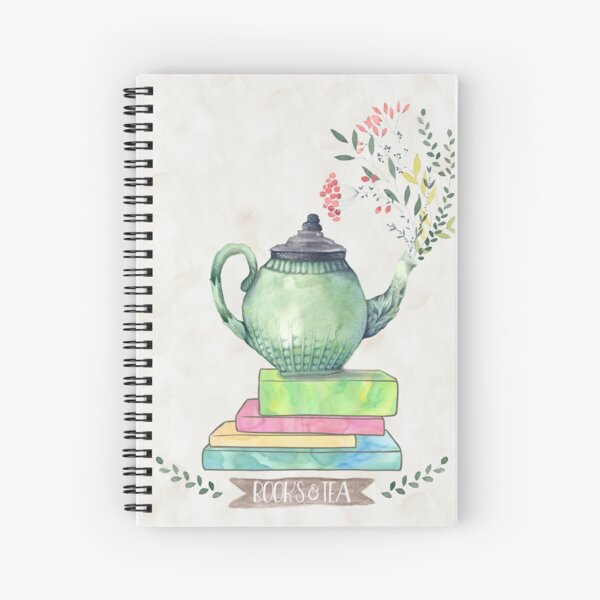 Books & Tea Watercolor Spiral Notebook