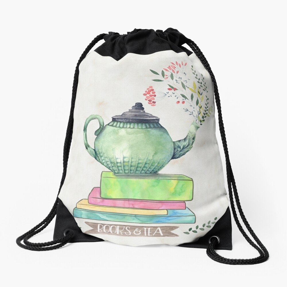 Books & Tea Watercolor Drawstring Bag