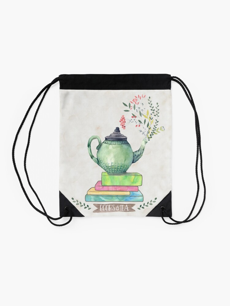 Alternate view of Books & Tea Watercolor Drawstring Bag