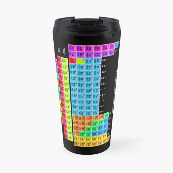 Vibrant Color Periodic Table on Black Travel Mug