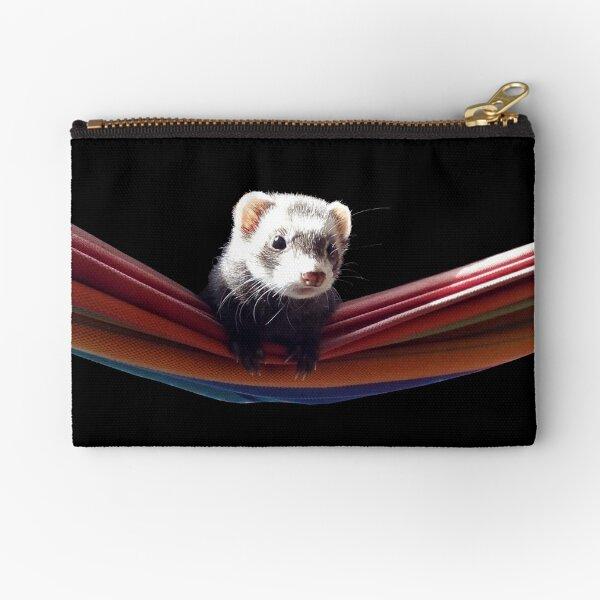 Curious ferret in hammock Zipper Pouch
