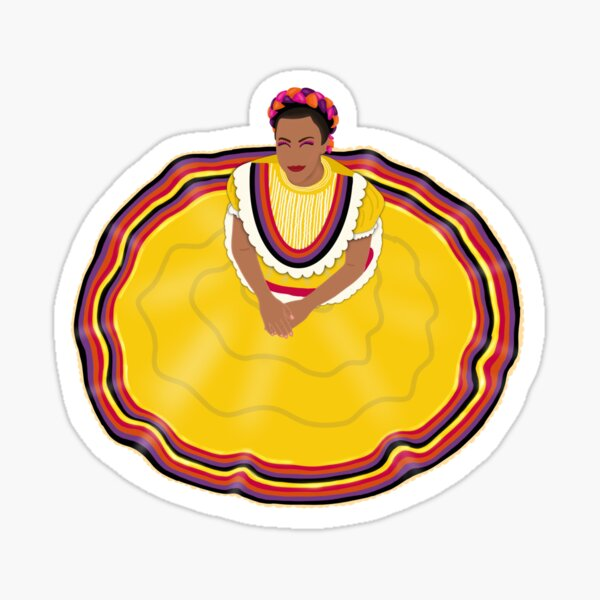 Folklorico Dancer - Yellow Dress Sticker