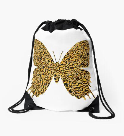 Golden butterfly Drawstring Bag