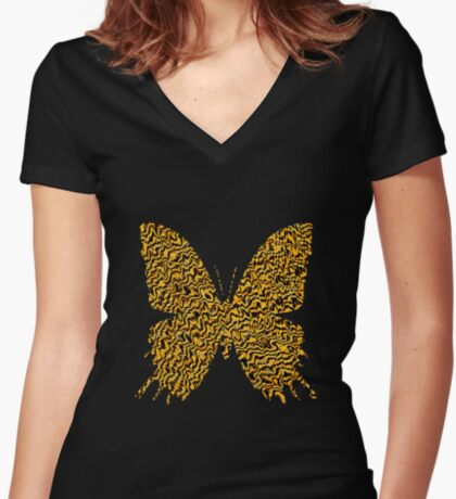 Golden butterfly Fitted V-Neck T-Shirt