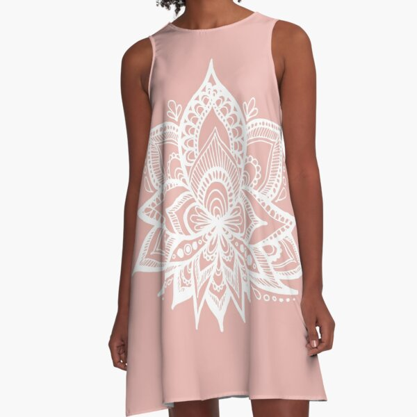 White Lotus Flower on Rose Gold A-Line Dress