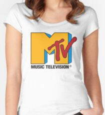 MTV 90's Logo Women's Fitted Scoop T-Shirt