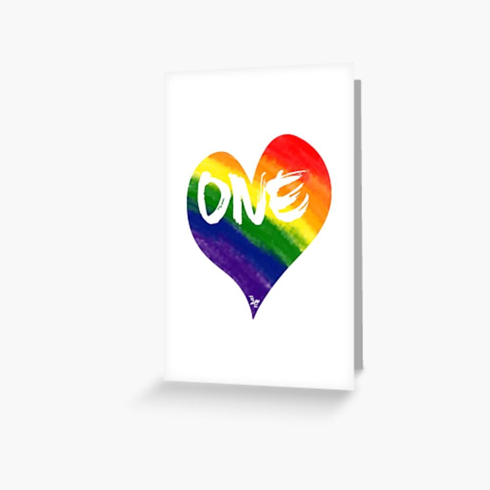 One Love Rainbow Heart Greeting Card