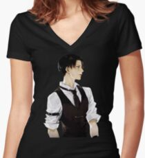 Levi Ackerman Women's Fitted V-Neck T-Shirt