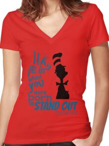 Why Fit In Dr Seuss Quote Women's Fitted V-Neck T-Shirt
