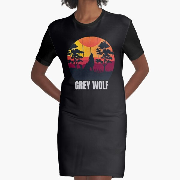 Grey Wolf Graphic T-Shirt Dress