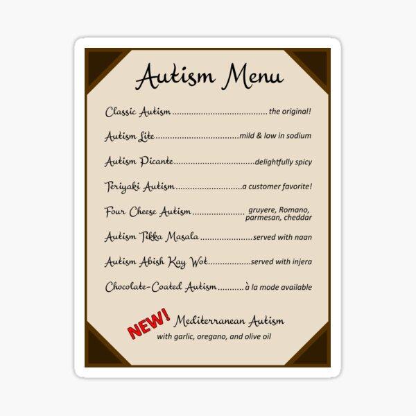 Autism Menu Sticker