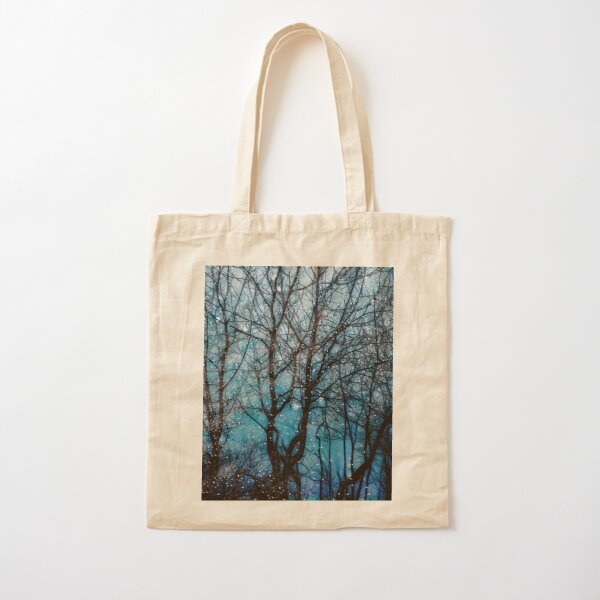 Trees at night in winter. Cotton Tote Bag