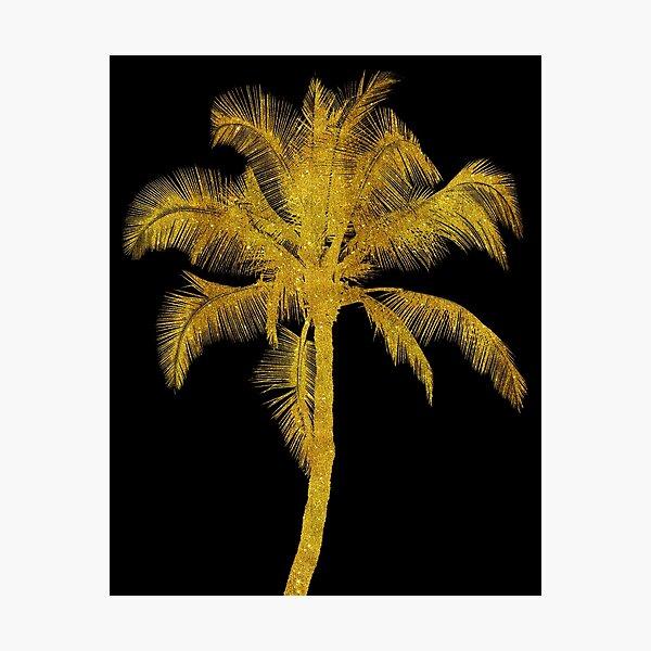 Gold Palm Tree Faux Glitter Metallic Foil Tropical Palms Black Photographic Print