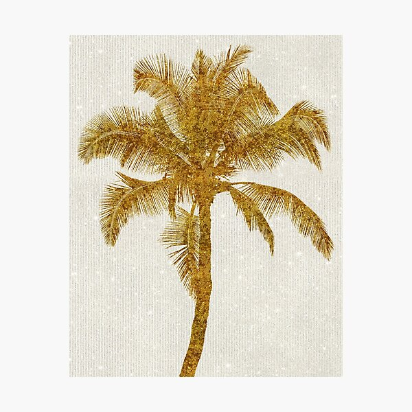 Gold Palm Tree Faux Glitter Metallic Foil Tropical Palms Striped Background Photographic Print