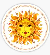 Bright colorful decorated smiling sun Sticker