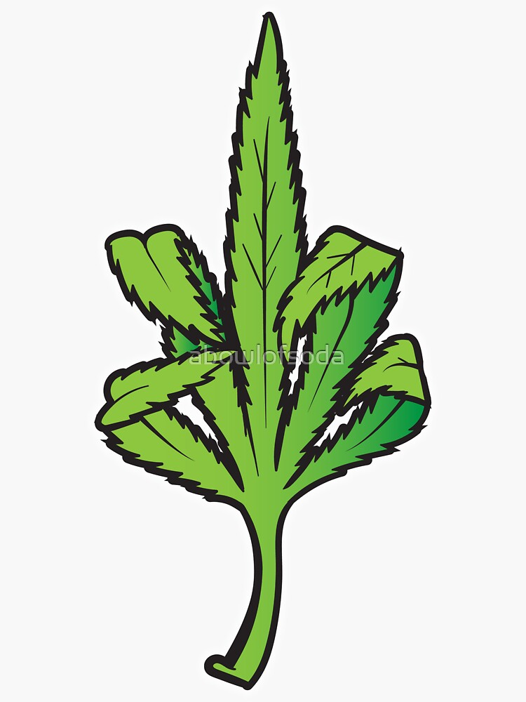 Pot Leaf Weed Middle Finger Flipping Off by abowlofsoda