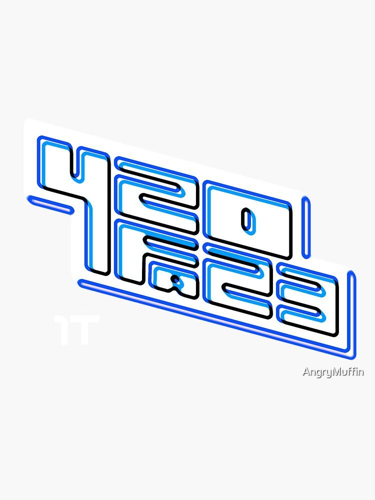 420FAZ3 - Logotipo blanco y azul de AngryMuffin