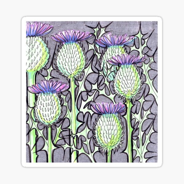 Inked Thistles Sticker