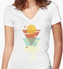 Sun. Sea. Sand. Shark. Women's Fitted V-Neck T-Shirt