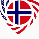 Norwegian American Multinational Patriot Flag Series 2.0 by Carbon-Fibre Media