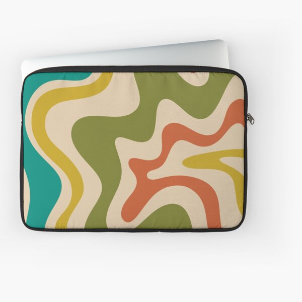 Liquid Swirl Retro Abstract Pattern in Mid Mod Colours Laptop Sleeve