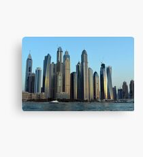 Photography of tall buildings from Dubai seen from the water, United Arab Emirates. Canvas Print