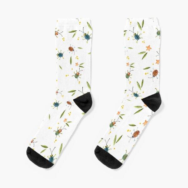 BUNTE KÄFER AQUARELL weiß, handgemalt Socken