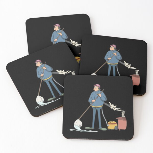 Cleaner vacuum cleans office documents Coasters (Set of 4)