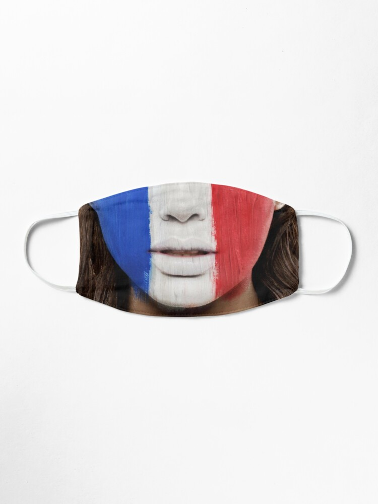 Alternate view of French flag face mask Mask