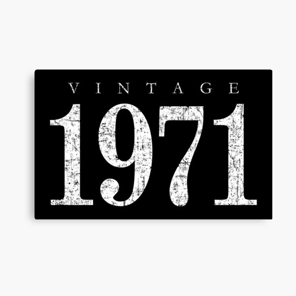 Vintage 1971 (Antik Weiß) 50. Geburtstag  Leinwanddruck