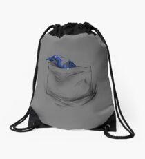 Little Dragon In My Pocket 1 - Blue Drawstring Bag