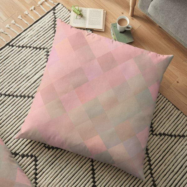 Modern Abstract Pink Orange Beige Pattern Design 1948 Floor Pillow
