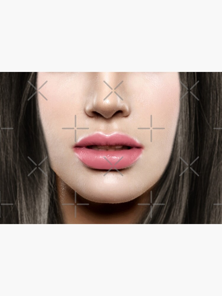 Brunette pink lips Face Mask by alicemonbercomp