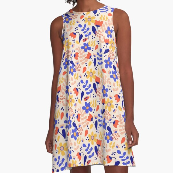 Intense Color Wild Flower Chaotic Pattern A-Line Dress