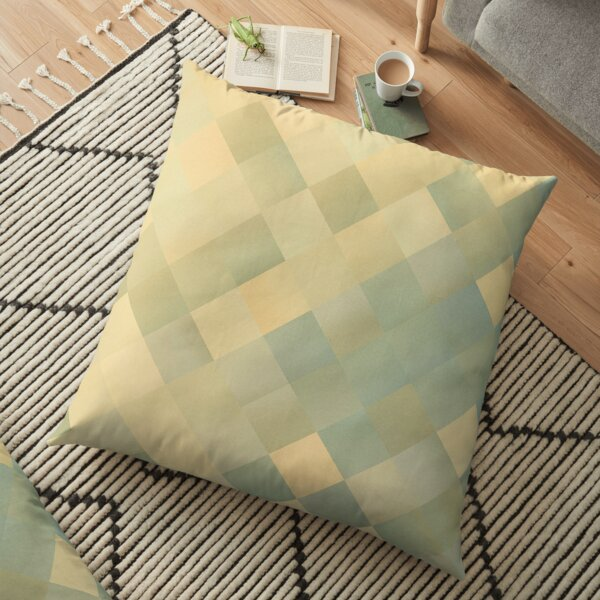 Modern Abstract Cream Green Beige Pattern Design 1950 Floor Pillow