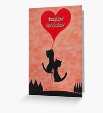 Birthday Cats Card, Birthday Heart Card, Cats and Heart Greeting Card