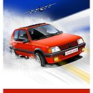 Peugeot 205 GTI Classic Car Advert by RJWautographics