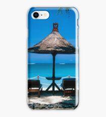 Beach umbrella and recliners, Bali, Indonesia. iPhone Case/Skin