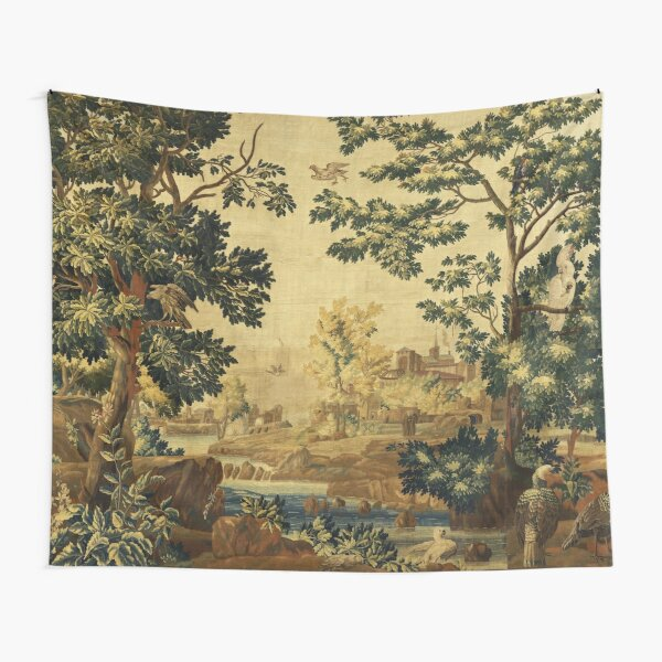 Wood Landscape with Birds,Trees and River, Antique Flemish Tapestry in Brown Ivory Blue Tapestry