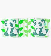 Póster Panda verde de la hoja