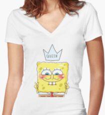 Queen SpongeBob Women's Fitted V-Neck T-Shirt