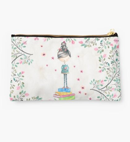 Bookish Girl in Watercolor Studio Pouch