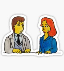 Simpsons Style Mulder and Scully - X Files Sticker