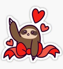 Ribbon Heart Sloth Sticker