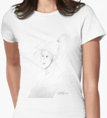 sketch of a woman with windswept hair and long ponytail T-Shirt