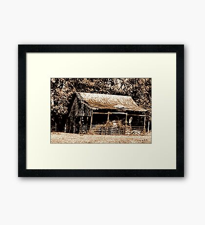 """""""Old Timer's Barn (B&W with a touch of brown)""""... prints and products Framed Print"""